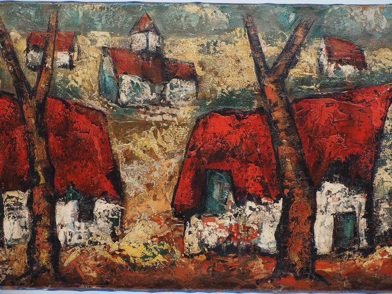 Brittany : Small Traditional Village - Original Oil on canvas, Handsigned For Sale 3