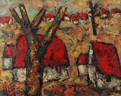 Brittany : The Red Roofs - Original Oil on canvas, Handsigned