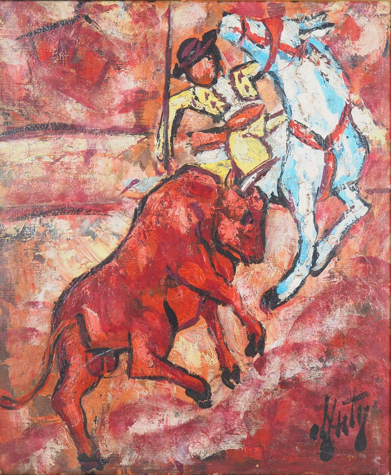Bull and Picador - Original Oil on canvas, Handsigned - Modern Painting by Henri d'Anty
