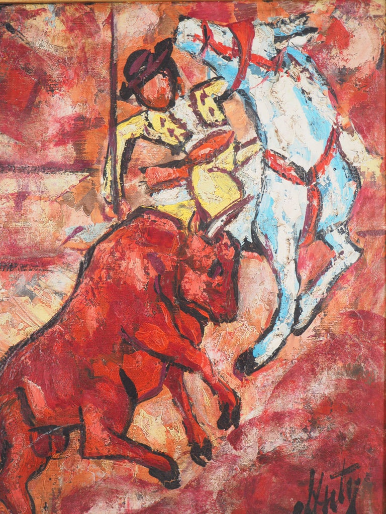 Bull and Picador - Original Oil on canvas, Handsigned - Brown Animal Painting by Henri d'Anty