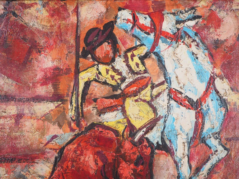 Henri d'Anty Bull and Picador  Original oil on canvas Handsigned bottom right Signed and titled on the back On canvas 55 x 46 cm at view (c. 22 x 18 inch) Presented in a DELF golden wood frame 75 x 66 cm (c. 30 x 26 in)  Excellent condition, light