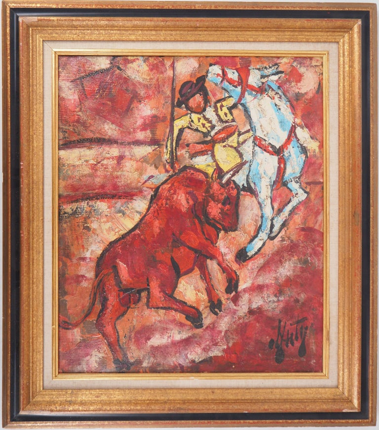 Henri d'Anty Animal Painting - Bull and Picador - Original Oil on canvas, Handsigned