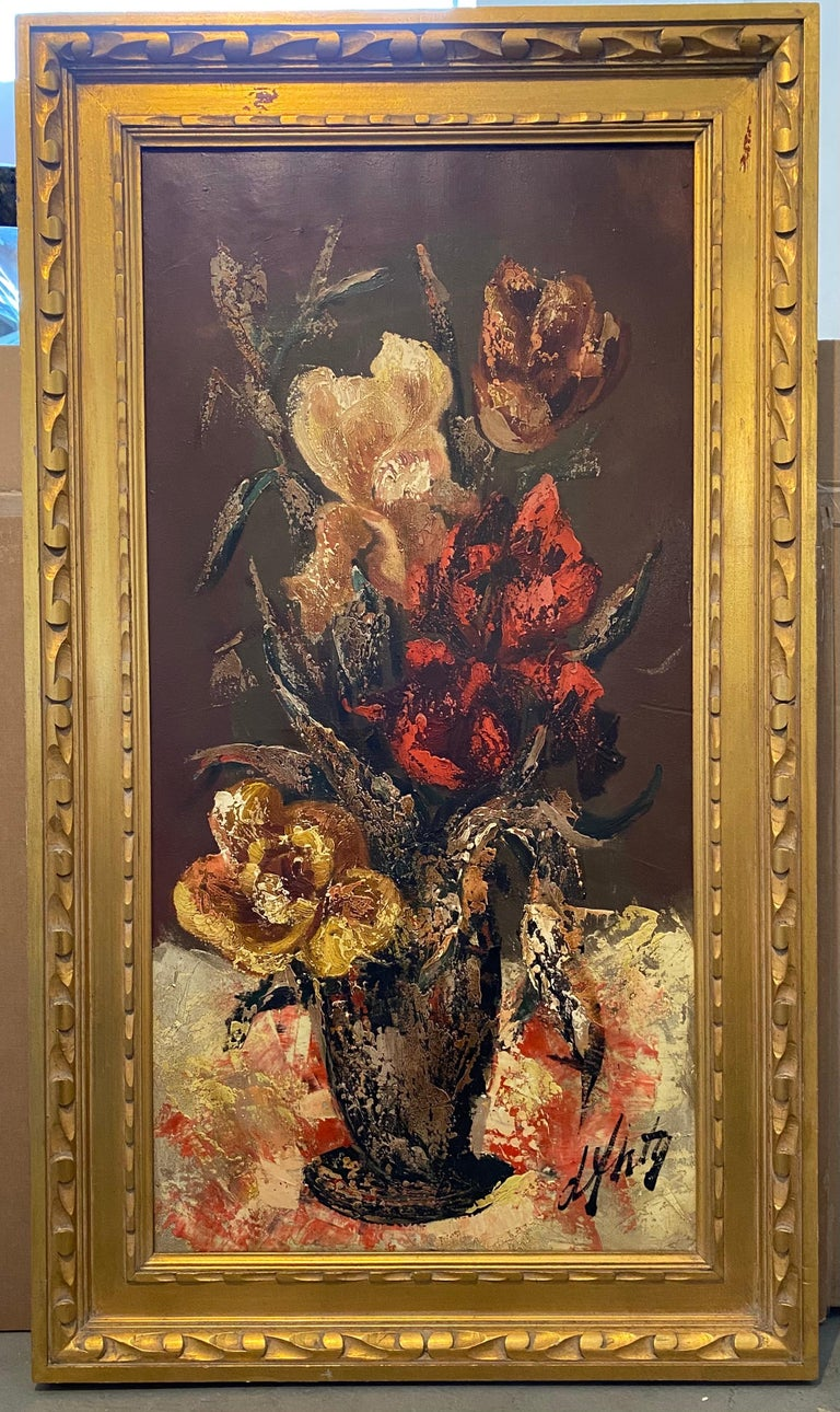 French Modernist Large Floral Oil Painting Expressionist Flowers in Vase For Sale 1