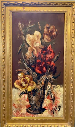 French Modernist Large Floral Oil Painting Expressionist Flowers in Vase