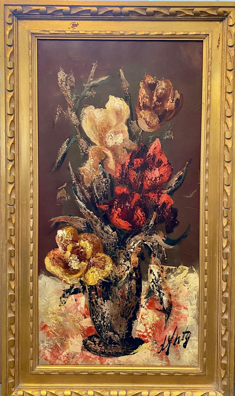 Henri d'Anty Landscape Painting - French Modernist Large Floral Oil Painting Expressionist Flowers in Vase