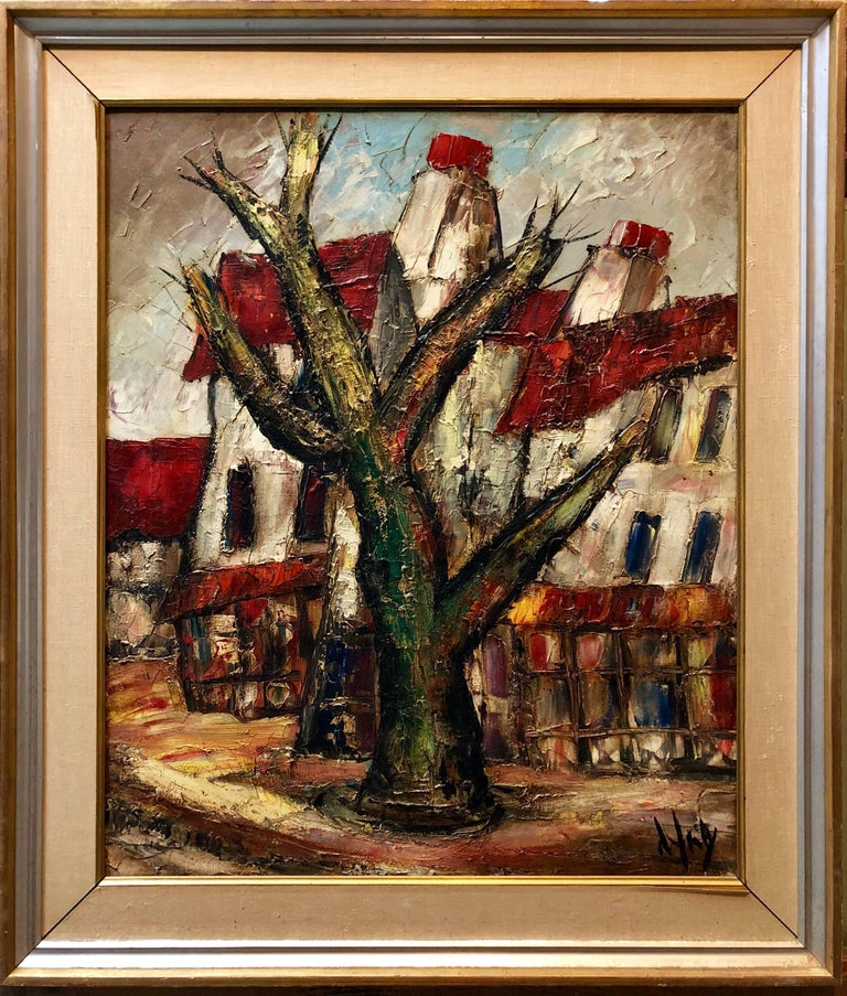French Modernist Large Oil Painting Village Farmhouses