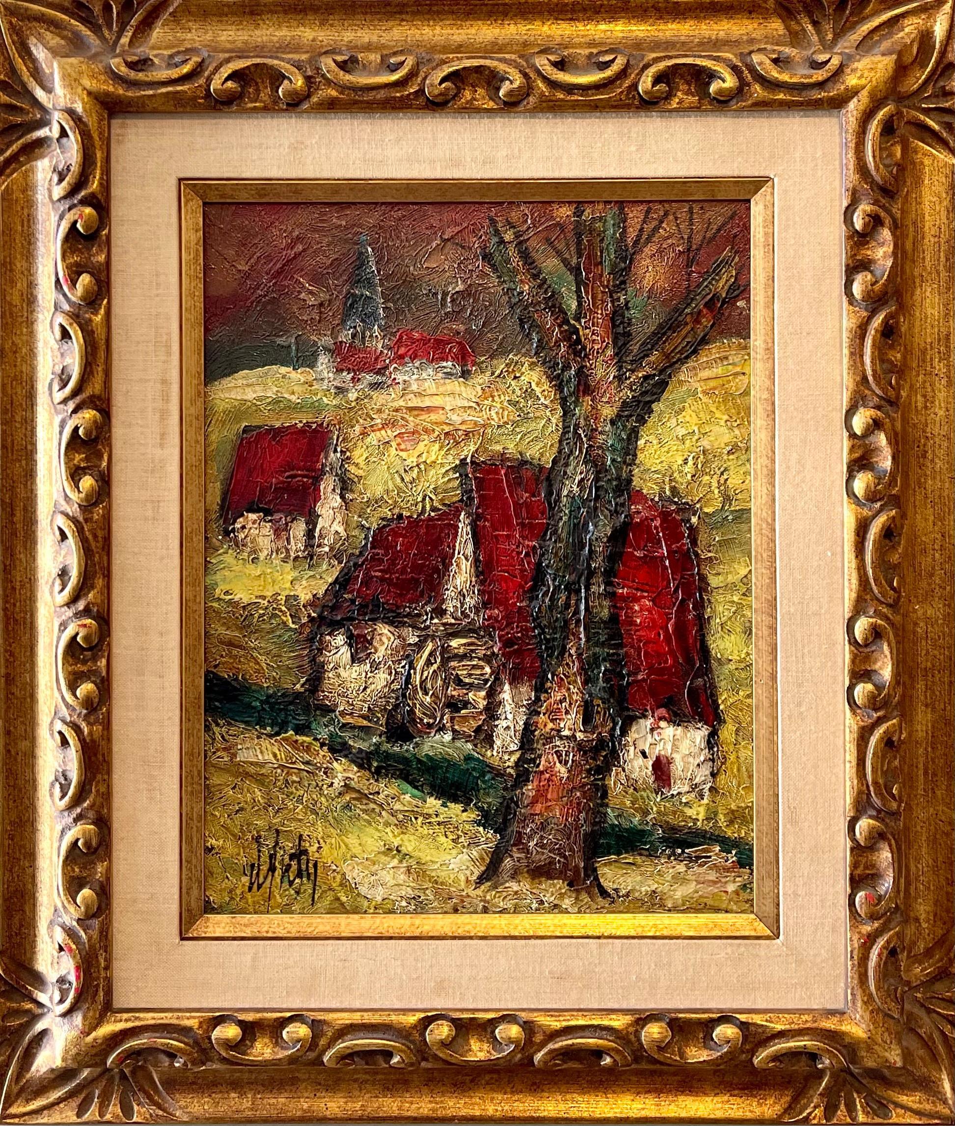 French Modernist Oil Painting Expressionist Village Farm Landscape Ecole Paris
