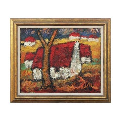 """""""French Village"""" Abstract Impressionist Landscape Painting of Red Farmhouses"""