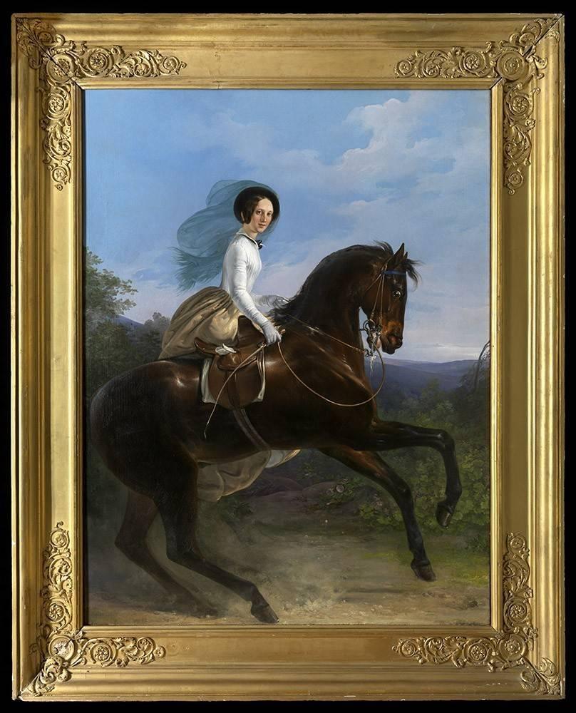 C19th Portrait Princesse de Joinville of Brazil - Spectacular fit for a palace