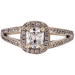 Henri Daussi 18 Karat White Gold Diamond Cushion Cut Engagement Ring