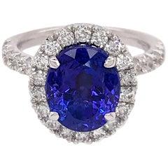 Henri Daussi Platinum Dazzling Tanzanite and Diamond Ring