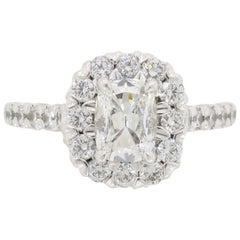 Henri Daussi Signature Halo Diamond Engagement Ring in 18 Karat White Gold