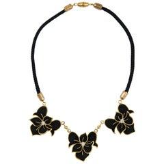 Henri de la Pensee black suede and gilt metal floral necklace, France, 1930s