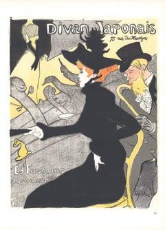 1966 Henri de Toulouse-Lautrec 'Le Divan Japonais' Art Nouveau Black,Gray,Yellow