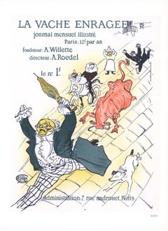 """After Henri de Toulouse-Lautrec-La Vache Enragee-14.5"""" x 10.5""""-Lithograph-1966"""