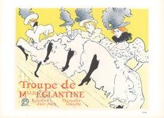 """Henri de Toulouse-Lautrec - Troupe de Mlle Eglantine - 1966 Lithograph 10.5"""" x 1"""