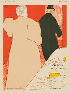 L'Argent, lithographic program on Japon paper by Henri de Toulouse-Lautrec, 1898