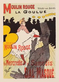 Moulin Rouge, La Goulue by Henri de Toulouse-Lautrec, Japon lithograph, 1896