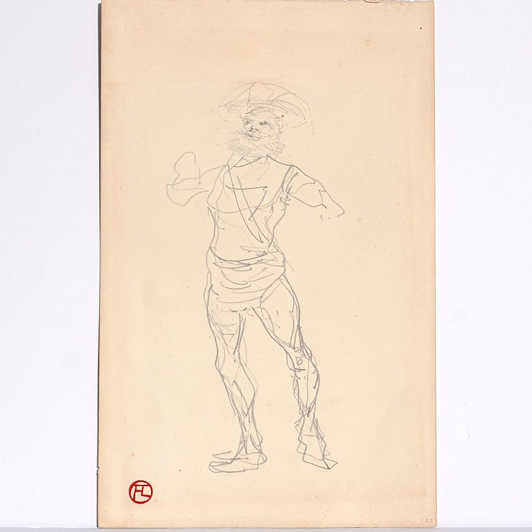 Henri de Toulouse-Lautrec (French, 1864-1901) two sided sketchbook page catalogued in The Catalogue Raisonne. Homme debout (recto); Croquis (verso) (two-sided drawing)  circa 1879-1881 Graphite on paper 10.6 x 6.72 inches (27 x 17.1 cm)