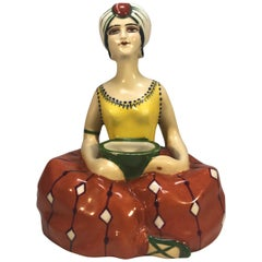 Henri Delcourt, Liane, Art Deco French Ceramic Inkwell of Woman in Turban 1920s