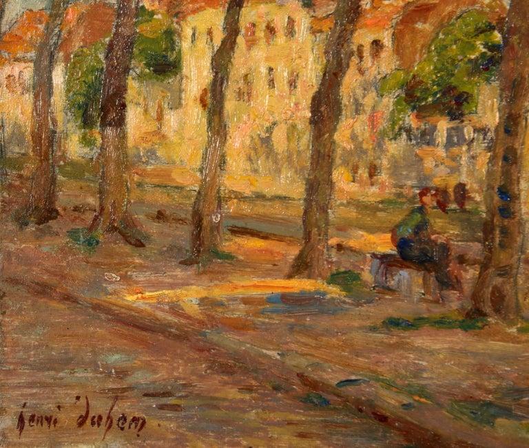 Au bord du canal - Impressionist Oil, Figures by Canal in Landscape, Henri Duhem - Brown Figurative Painting by Henri Duhem