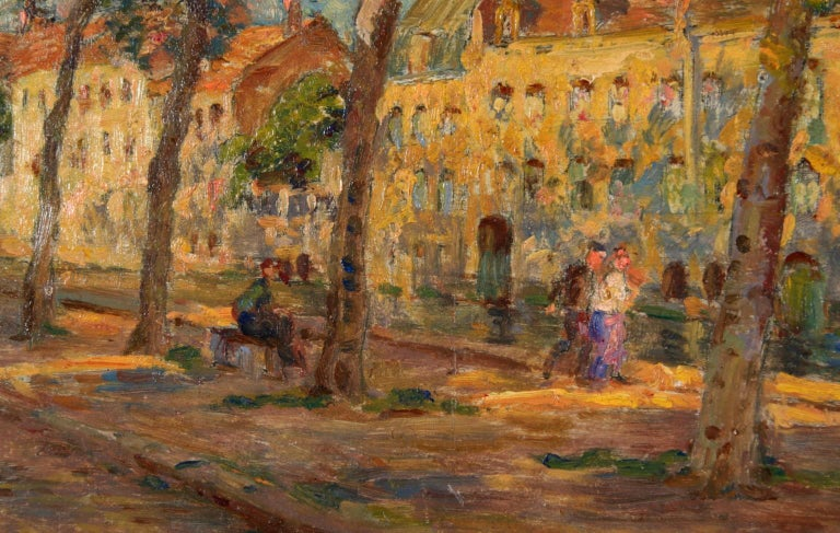 A beautiful oil on panel by French impressionist painter Henri Duhem depicting figures seated and enjoying a walk in the shade of the trees by the canal on a bright sunny day.  Signature: Signed lower left and dated 1918 verso.