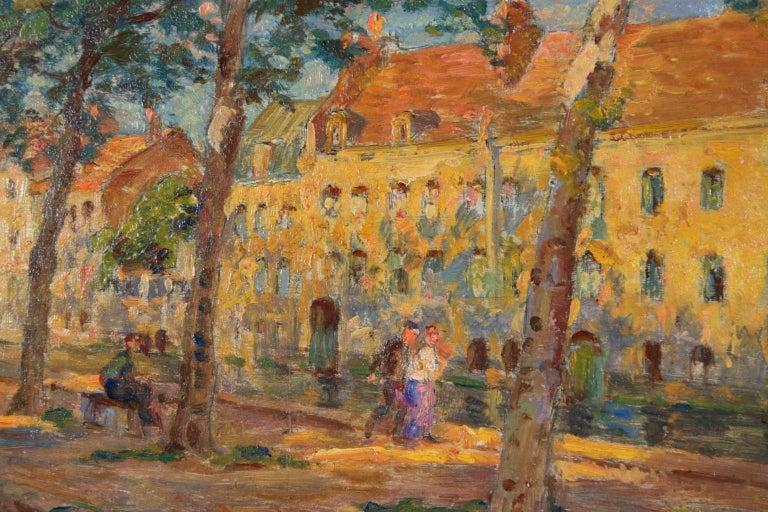 Au bord du canal - Impressionist Oil, Figures by Canal in Landscape, Henri Duhem 2