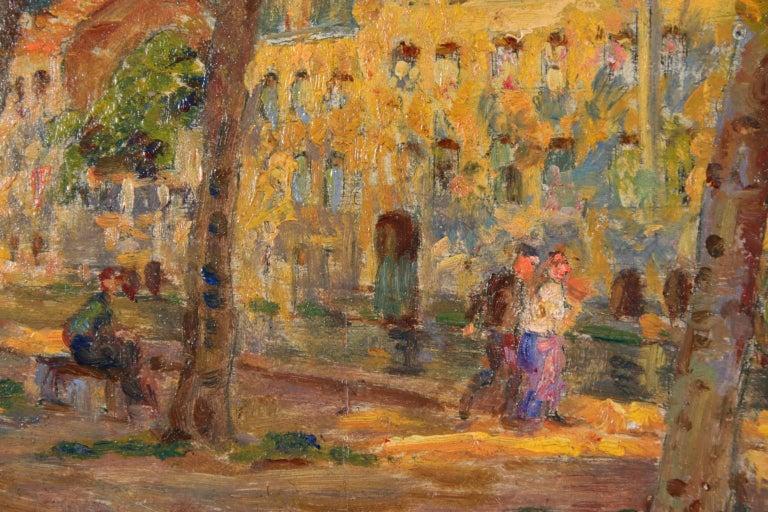 Au bord du canal - Impressionist Oil, Figures by Canal in Landscape, Henri Duhem 3