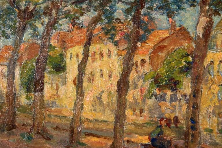 Au bord du canal - Impressionist Oil, Figures by Canal in Landscape, Henri Duhem 4