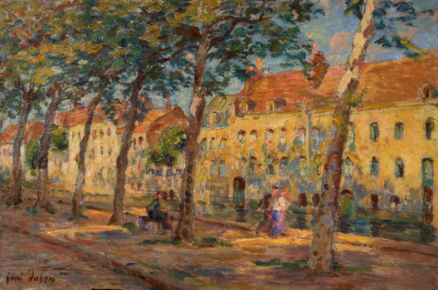 Au bord du canal - Impressionist Oil, Figures by Canal in Landscape, Henri Duhem