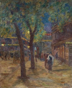 Avenue De L'Opera - Paris - Night - Figures in Street Scene by Henri Duhem
