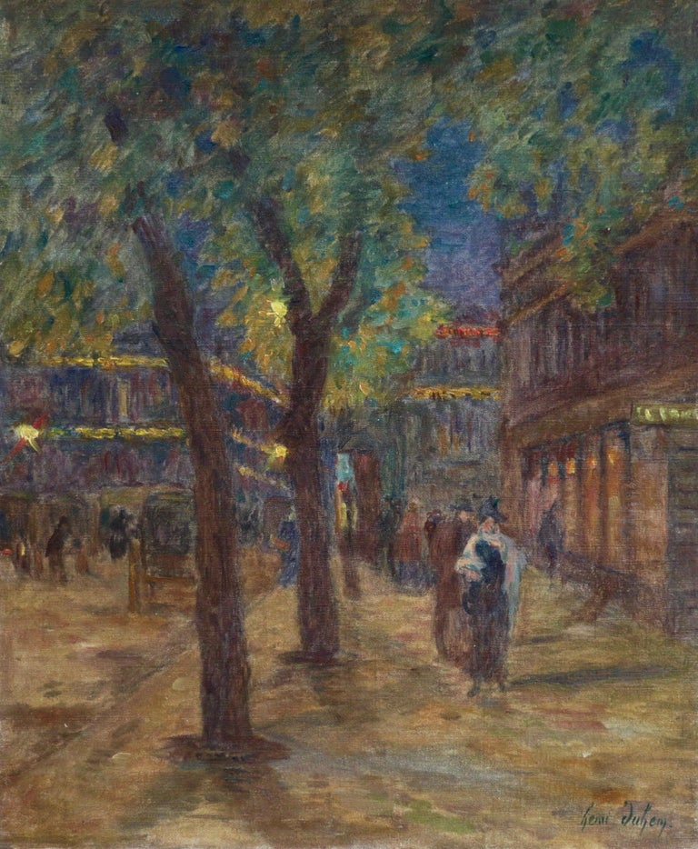 A lovely evening painting from the famous street in Paris showing elegant figures in a  Parisian scene. Oil on canvas, signed lower right, 1899. This painting is not currently framed but a suitable frame can be sourced if required.  Descendant of an