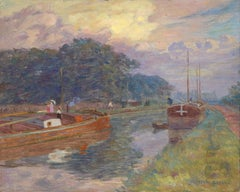 Barges on the River - 19th Century Oil, Boats at Sunset Landscape by Henri Duhem