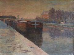 Belandre au Soleil - Matin de Givre - Impressionist Oil, Landscape by H Duhem