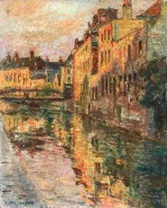 Bruges - Sunset- 19th Century Oil, Sunset on Canal Landscape by Henri Duhem