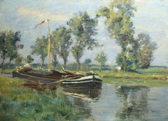 Canal a Douai - 19th Century Oil, Boat on Canal in Landscape by Henri Duhem