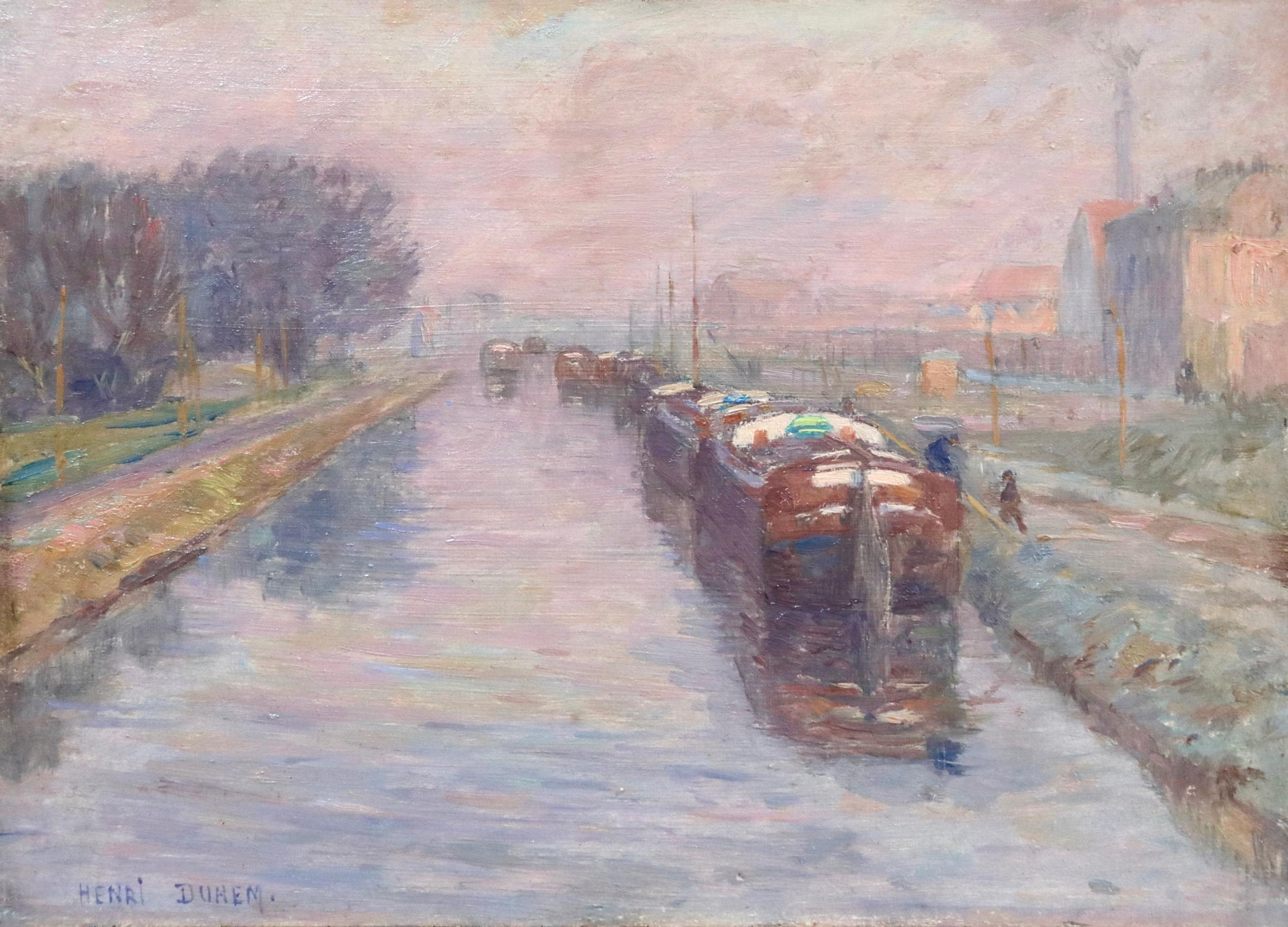 Canal à Douai - Hiver - 19th Century Oil, Barges in Winter Landscape by H Duhem