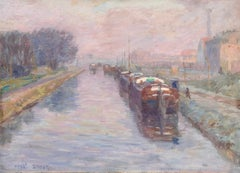 Canal à Douai - Hiver - 19th Century Oil, Barges in Winter Landscape by H Duhem