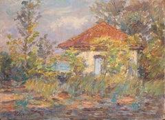 Maison dans les Arbres - 19th Century Oil, Cottage in Trees Landscape by Duhem