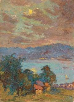 Clair de lune - Lac Geneva - 19th Century Oil, Lake in Moonlit Landscape - Duhem