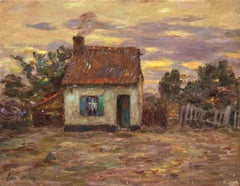Cottage at Sundown - 19th Century Oil, House in Landscape at Sunset by H Duhem
