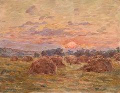 Coucher de Soleil sur des Meules - 19th Century Oil, Landscape by Henry Duhem