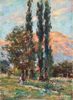 Coucher de Soleil sur la Montagne - 19th Century Oil, Mountain Landscape - Duhem