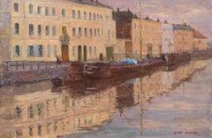 Coucher du soleil sur le canal - 19th Century Oil, Landscape by Henri Duhem