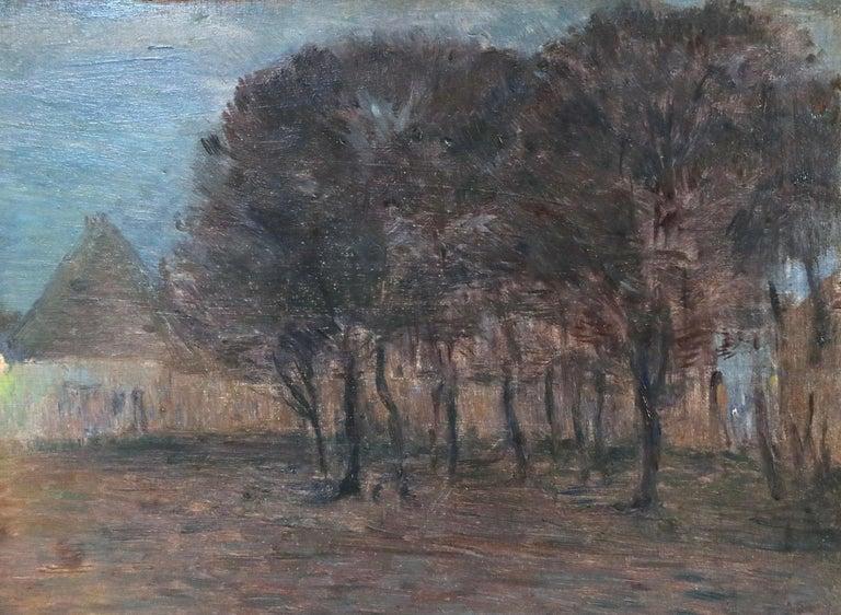 Crépescule - 19th Century Oil Panel, Village at Night Landscape by Henri Duhem For Sale 2