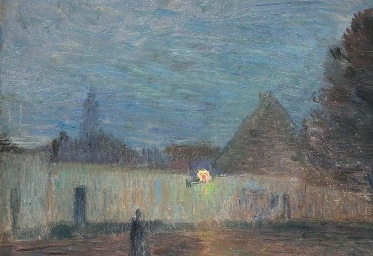 Crépescule - 19th Century Oil Panel, Village at Night Landscape by Henri Duhem For Sale 5