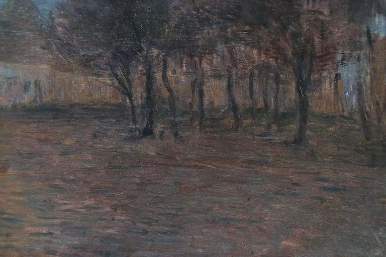 Crépescule - 19th Century Oil Panel, Village at Night Landscape by Henri Duhem For Sale 6