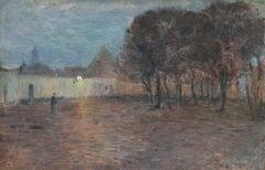 Crépescule - 19th Century Oil Panel, Village at Night Landscape by Henri Duhem