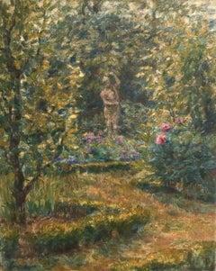 Dans le Jardin - 19th Century Oil, Statue in Garden Landscape by Henri Duhem