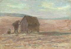 Dans le Champ - 19th Century Oil, Figure by Hut in Landscape by Henri Duhem